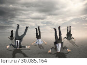 Купить «Composite image of businessmen burying their heads», фото № 30085164, снято 11 июня 2014 г. (c) Wavebreak Media / Фотобанк Лори