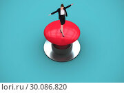 Купить «Composite image of businesswoman performing a balancing act», фото № 30086820, снято 26 июня 2014 г. (c) Wavebreak Media / Фотобанк Лори