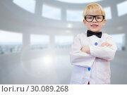 Купить «Composite image of cute pupil dressed up as teacher», фото № 30089268, снято 7 августа 2014 г. (c) Wavebreak Media / Фотобанк Лори