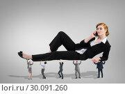 Купить «Composite image of business team supporting boss», фото № 30091260, снято 22 августа 2014 г. (c) Wavebreak Media / Фотобанк Лори