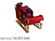 Купить «Red and gold santa sleigh», фото № 30091840, снято 22 августа 2014 г. (c) Wavebreak Media / Фотобанк Лори