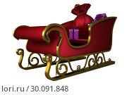 Купить «Red and gold santa sleigh», фото № 30091848, снято 22 августа 2014 г. (c) Wavebreak Media / Фотобанк Лори