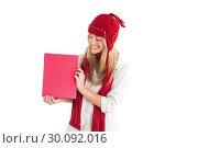 Купить «Pretty blonde showing red poster», фото № 30092016, снято 9 июля 2014 г. (c) Wavebreak Media / Фотобанк Лори