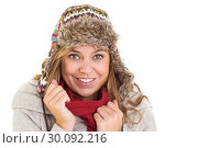 Купить «Happy blonde in winter clothes», фото № 30092216, снято 10 июля 2014 г. (c) Wavebreak Media / Фотобанк Лори