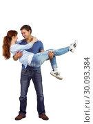 Купить «Man lifting up his girlfriend», фото № 30093384, снято 4 июля 2014 г. (c) Wavebreak Media / Фотобанк Лори