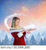 Купить «Composite image of pretty girl presenting in santa outfit», фото № 30094260, снято 26 августа 2014 г. (c) Wavebreak Media / Фотобанк Лори