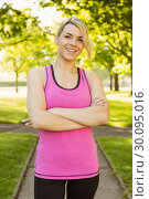 Купить «Fit blonde smiling at camera in the park», фото № 30095016, снято 28 мая 2014 г. (c) Wavebreak Media / Фотобанк Лори