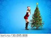 Купить «Composite image of sexy santa girl blowing a kiss», фото № 30095808, снято 28 августа 2014 г. (c) Wavebreak Media / Фотобанк Лори