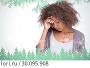Купить «Composite image of sad woman holding her forehead with her hand», фото № 30095908, снято 29 августа 2014 г. (c) Wavebreak Media / Фотобанк Лори