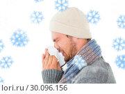 Купить «Composite image of handsome man in winter fashion blowing his nose», фото № 30096156, снято 29 августа 2014 г. (c) Wavebreak Media / Фотобанк Лори