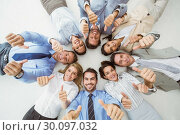 Купить «Business people gesturing thumbs up», фото № 30097032, снято 8 мая 2014 г. (c) Wavebreak Media / Фотобанк Лори