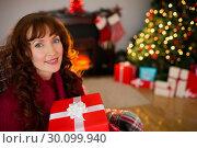 Купить «Smiling redhead holding gift on the armchair at christmas», фото № 30099940, снято 3 октября 2014 г. (c) Wavebreak Media / Фотобанк Лори