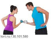 Купить «Fit man and woman lifting dumbbells», фото № 30101580, снято 13 ноября 2014 г. (c) Wavebreak Media / Фотобанк Лори