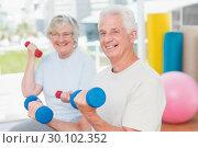 Купить «Happy senior couple lifting dumbbells in gym», фото № 30102352, снято 13 ноября 2014 г. (c) Wavebreak Media / Фотобанк Лори