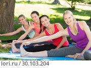 Купить «Fitness group doing yoga in park», фото № 30103204, снято 18 ноября 2014 г. (c) Wavebreak Media / Фотобанк Лори