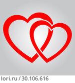 Купить «Two red hearts», иллюстрация № 30106616 (c) Сергей Лаврентьев / Фотобанк Лори