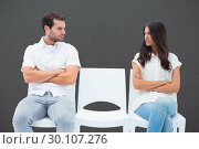Купить «Composite image of angry couple not talking after argument», фото № 30107276, снято 19 января 2015 г. (c) Wavebreak Media / Фотобанк Лори