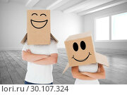 Купить «Composite image of mature couple wearing boxes over their heads», фото № 30107324, снято 19 января 2015 г. (c) Wavebreak Media / Фотобанк Лори
