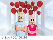 Купить «Composite image of young couple with bags over heads», фото № 30107344, снято 19 января 2015 г. (c) Wavebreak Media / Фотобанк Лори
