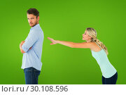 Composite image of desperate blonde reaching for boyfriend. Стоковое фото, агентство Wavebreak Media / Фотобанк Лори