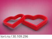 Купить «Composite image of linking hearts», фото № 30109296, снято 21 января 2015 г. (c) Wavebreak Media / Фотобанк Лори