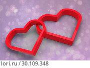 Купить «Composite image of linking hearts», фото № 30109348, снято 21 января 2015 г. (c) Wavebreak Media / Фотобанк Лори