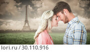 Купить «Composite image of attractive couple standing touching heads», фото № 30110916, снято 23 января 2015 г. (c) Wavebreak Media / Фотобанк Лори