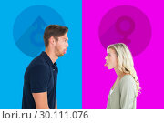 Купить «Composite image of childish couple having an argument», фото № 30111076, снято 23 января 2015 г. (c) Wavebreak Media / Фотобанк Лори