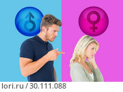 Купить «Composite image of young couple having an argument», фото № 30111088, снято 23 января 2015 г. (c) Wavebreak Media / Фотобанк Лори