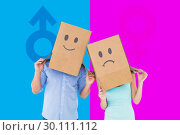 Купить «Composite image of couple wearing sad face boxes on their heads», фото № 30111112, снято 23 января 2015 г. (c) Wavebreak Media / Фотобанк Лори