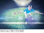 Купить «Composite image of rugby player tackling the opponent», фото № 30113920, снято 17 сентября 2015 г. (c) Wavebreak Media / Фотобанк Лори