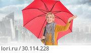 Купить «Composite image of woman checking to see if its raining», фото № 30114228, снято 5 февраля 2016 г. (c) Wavebreak Media / Фотобанк Лори