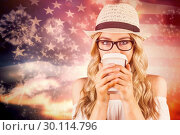 Купить «Composite image of gorgeous blonde hipster drinking out of take-away cup», фото № 30114796, снято 5 февраля 2016 г. (c) Wavebreak Media / Фотобанк Лори