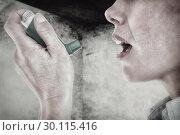 Купить «Composite image of close up of a woman using an asthma inhaler», фото № 30115416, снято 27 апреля 2016 г. (c) Wavebreak Media / Фотобанк Лори