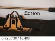 Купить «Fiction against close-up of typewriter», фото № 30116408, снято 29 апреля 2016 г. (c) Wavebreak Media / Фотобанк Лори