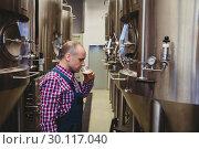 Manufacturer tasting beer at brewery. Стоковое фото, агентство Wavebreak Media / Фотобанк Лори
