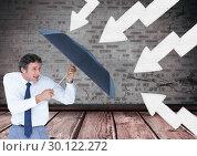 Купить «businessman with umbrella fighting direction signs», фото № 30122272, снято 23 ноября 2016 г. (c) Wavebreak Media / Фотобанк Лори