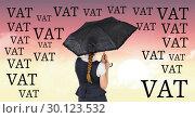 Купить «digital composite of woman carrying umbrella», фото № 30123532, снято 23 ноября 2016 г. (c) Wavebreak Media / Фотобанк Лори