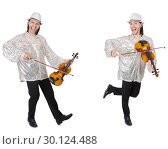 Купить «Young man playing violin isolated on white», фото № 30124488, снято 21 марта 2019 г. (c) Elnur / Фотобанк Лори