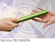 Купить «Athletes passing the baton during relay race against digitally generated clock», фото № 30124616, снято 8 декабря 2016 г. (c) Wavebreak Media / Фотобанк Лори