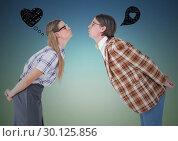 Купить «Romantic nerd couple standing with graphics sign over head», фото № 30125856, снято 16 декабря 2016 г. (c) Wavebreak Media / Фотобанк Лори