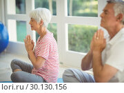Купить «Senior couple performing yoga on exercise mat», фото № 30130156, снято 16 ноября 2016 г. (c) Wavebreak Media / Фотобанк Лори
