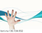 Купить «Composite image of open hand against blue curves», фото № 30134932, снято 6 февраля 2017 г. (c) Wavebreak Media / Фотобанк Лори
