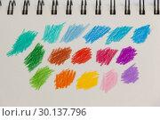 Купить «Hand drawn colorful stripes on note book», фото № 30137796, снято 6 октября 2016 г. (c) Wavebreak Media / Фотобанк Лори