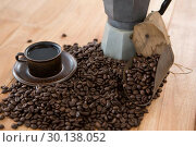 Купить «Coffee with coffeemaker and scoop», фото № 30138052, снято 6 октября 2016 г. (c) Wavebreak Media / Фотобанк Лори