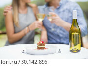 Купить «Close-up of food and bottle of wine arranged on table», фото № 30142896, снято 21 ноября 2016 г. (c) Wavebreak Media / Фотобанк Лори