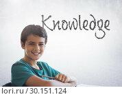 Купить «Knowledge text with schoolboy», фото № 30151124, снято 24 июля 2017 г. (c) Wavebreak Media / Фотобанк Лори