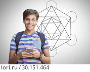 Купить «student boy with geometry background», фото № 30151464, снято 24 июля 2017 г. (c) Wavebreak Media / Фотобанк Лори