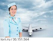 Купить «Air hostess in front of Plane», фото № 30151564, снято 24 июля 2017 г. (c) Wavebreak Media / Фотобанк Лори