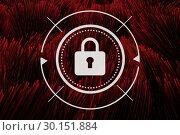 Купить «Padlock icon against red colour lines background», фото № 30151884, снято 24 июля 2017 г. (c) Wavebreak Media / Фотобанк Лори